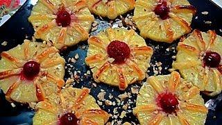Десерт из фруктов. Ананасы в тесте. Как красиво оформить стол. Блюда из ананаса