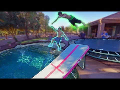 Thumbnail: TRAMPOLINE VS AIRTRACK INTO BACKYARD POOL! *INSANE*