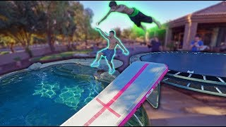 Trampoline Vs Airtrack Into Backyard Pool! *Insane*