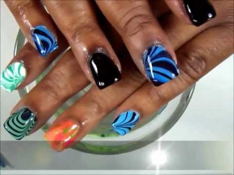 Nail Art Water Marble On Acrylics Dearnatural62 Youtube