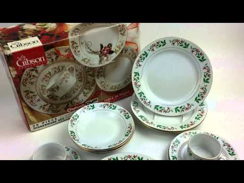Gibson Housewares Fine Porcelain China - Christmas Charm Pattern