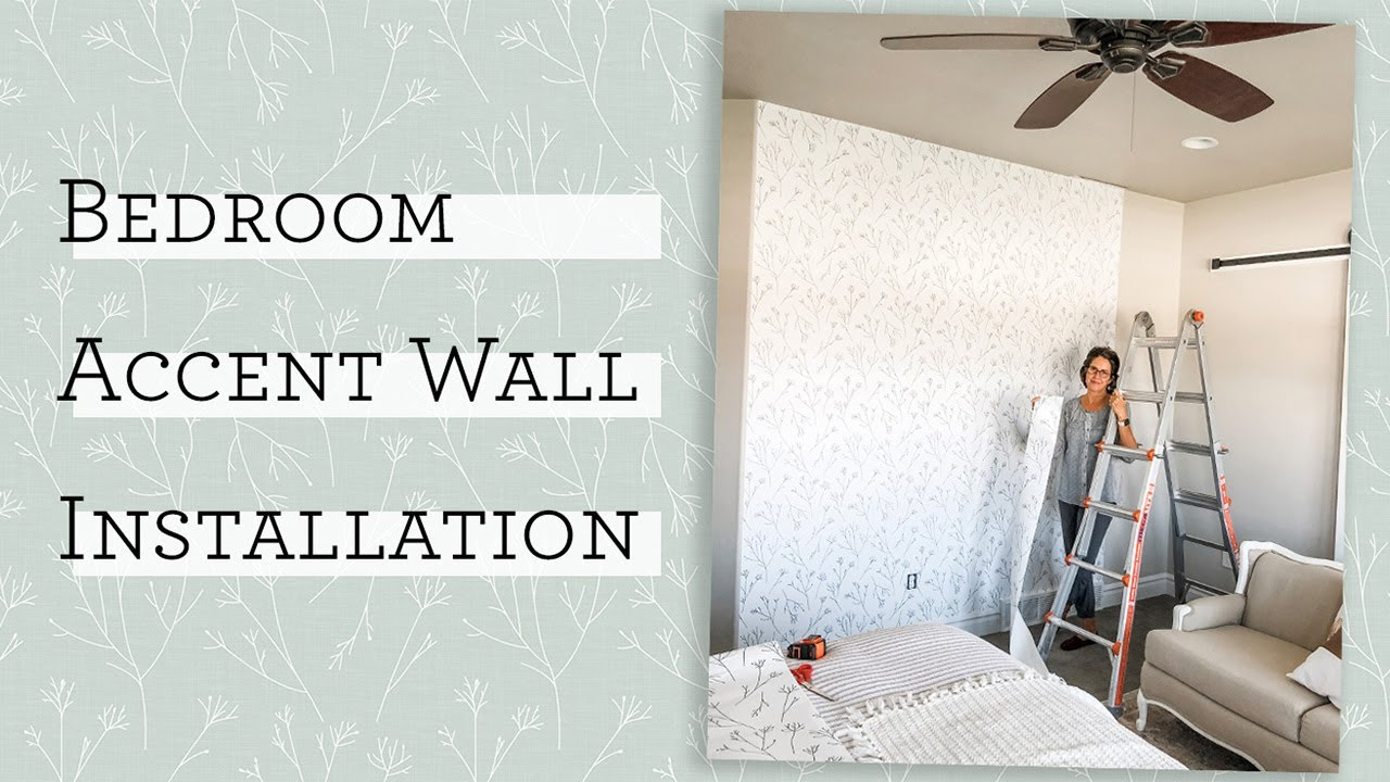 Master Bedroom Makeover - DIY Accent Wall with Peel and Stick Wallpaper