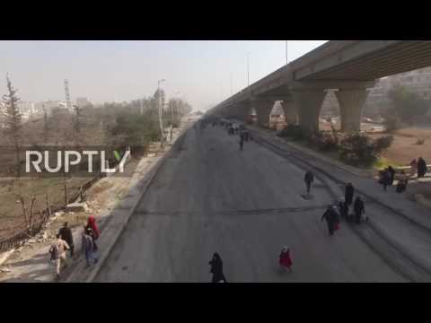 Syria: Drone captures Aleppo residents returning to liberated districts in droves