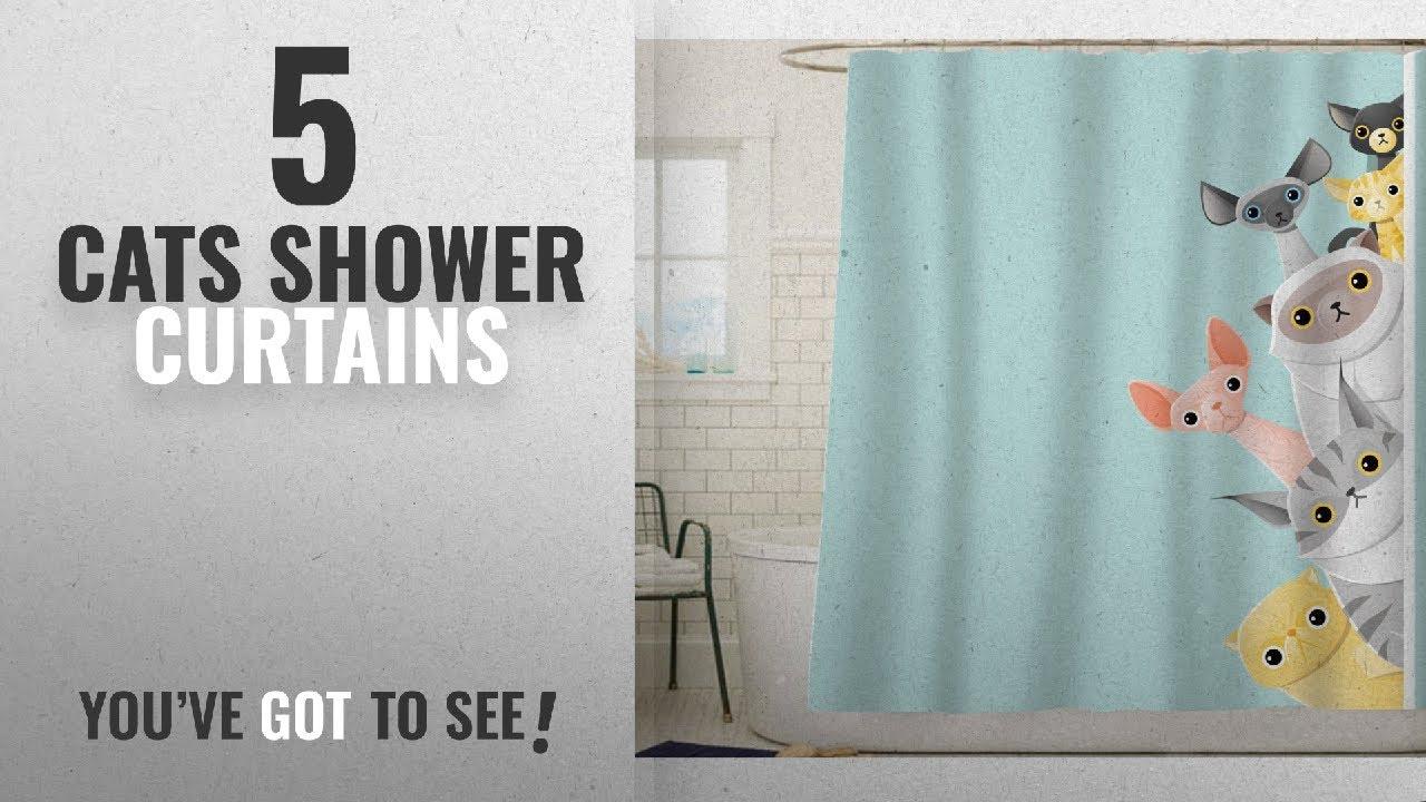 Top 10 Cats Shower Curtains [2018]: Sunlit Cute Striped Shorthair Peekaboo  Cats Cartoon Shower