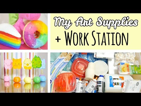 All My Art Supplies + Work Station Tour | Art, Crafts, Squishies