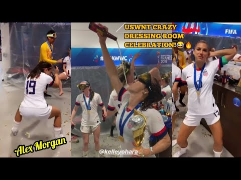 CRAZY DRESSING ROOM CELEBRATION OF US WOMEN NATIONAL TEAM (USWNT) AFTER WINNING WORLD CUP FINAL 2019