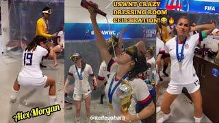 CRAZY DRESSING ROOM CELEBRATION OF US WOMEN NATIONAL TEAM USWNT AFTER WINNING WORLD CUP FINAL 2019