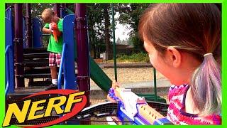 NERF Retaliator Toy Gun & Modulus Review + KID NERF WAR PLAY w/ RADIOJH AUDREY