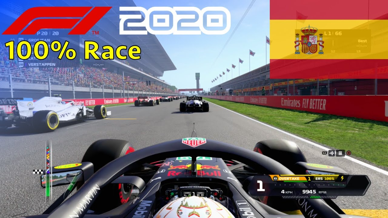 F1 2020 - 100% Race at Circuit de Barcelona-Catalunya in Verstappen's Red Bull