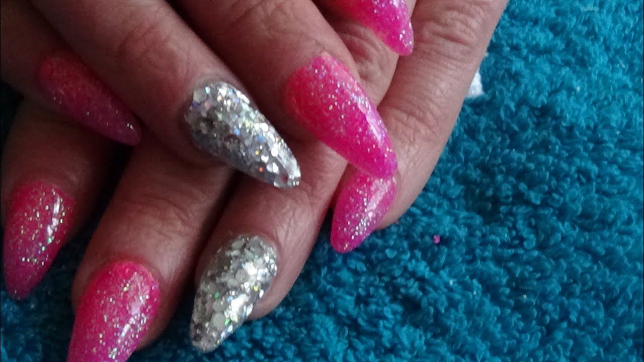 neon hot pink & silver glitter acrylic nails - youtube