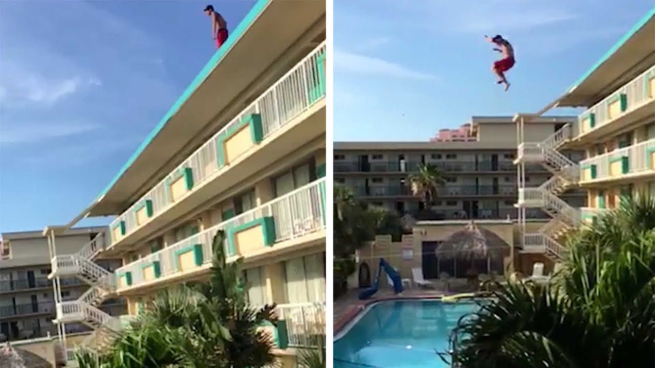 Man Jumps Off Roof Into Pool Youtube