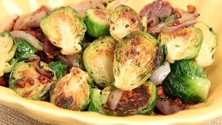 Brussels Sprouts With Onions & Pancetta Recipe - Laura Vitale - Laura In The Kitchen Episode 846