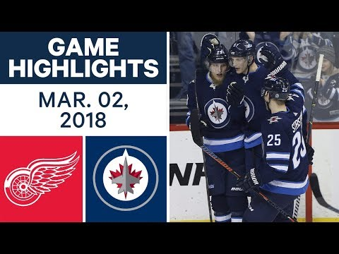 NHL Game Highlights | Red Wings vs. Jets - Mar. 02, 2018