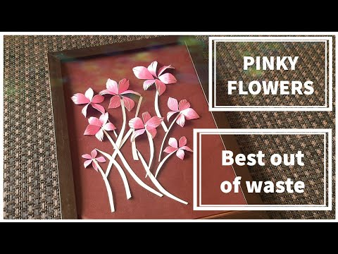 Best out of waste - Pink flowers with wall frame work - Diy