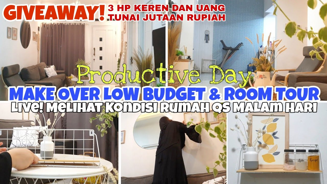 KEGIATAN MALAM HARI | MAKE OVER LOW BUDGET & ROOM TOUR-HOUSE TOUR SETELAH MAKE OVER | GIVEAWAY 2020
