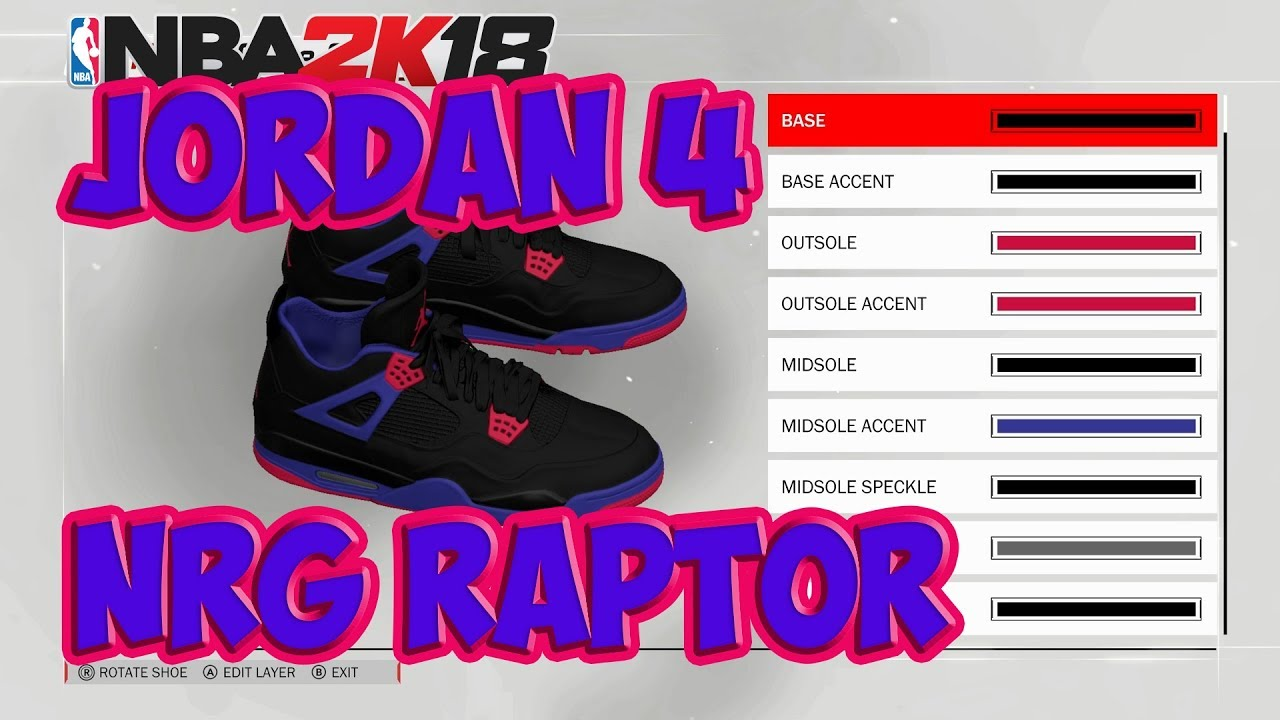 NBA 2K18 Shoe Creator | Jordan 4 NRG Raptor | Xbox One PS4