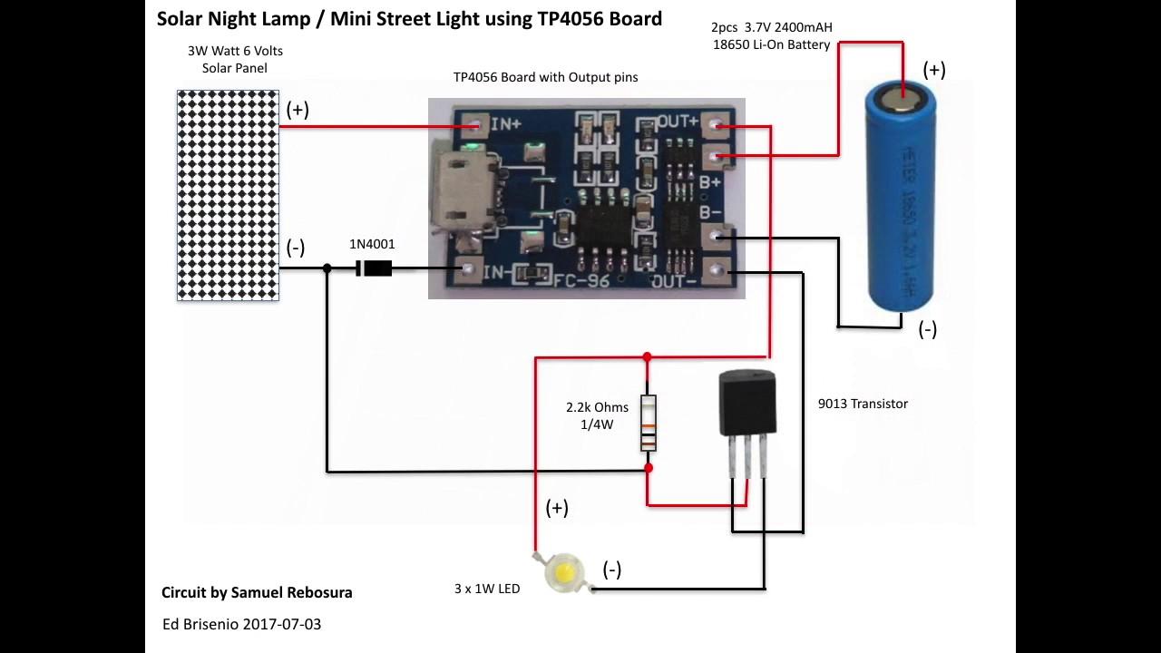 diy simple solar night lamp mini street light using tp4056 board [ 1280 x 720 Pixel ]
