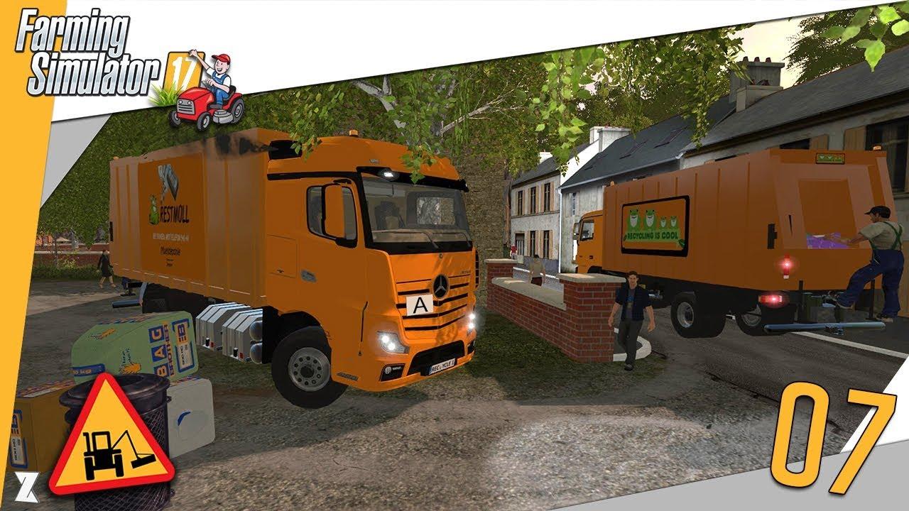 farming simulator 17 entretien communal 7 ramassage d 39 ordures en camion poubelle youtube. Black Bedroom Furniture Sets. Home Design Ideas