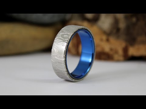 Making Damascus Steel And Anodised Titanium Ring For My Mate