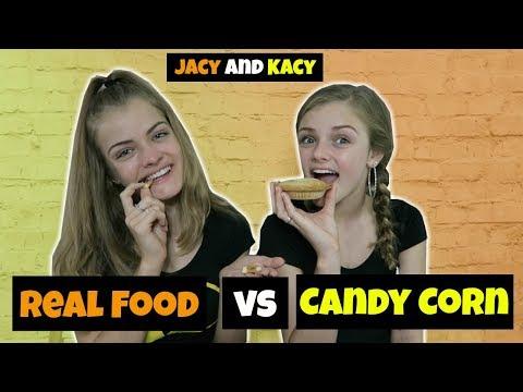 Real Food vs Candy Corn Challenge ~ Jacy and Kacy