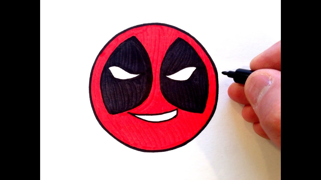how to draw a deadpool smiley face easy for beginners youtube