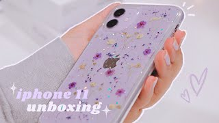 iphone 11 💜 + 🦄 emoji engraved airpods ⁄⁄ unboxing & setup 📦📱✨