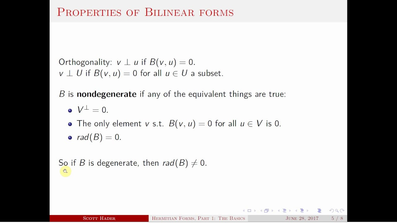 Hermitian Forms Part 1: The Basics - YouTube