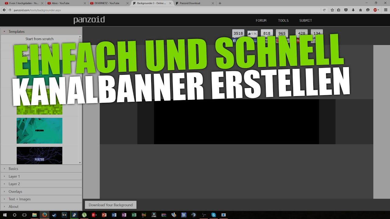 Charmant Youtube Kanal Banner Vorlage Ideen - Beispiel ...