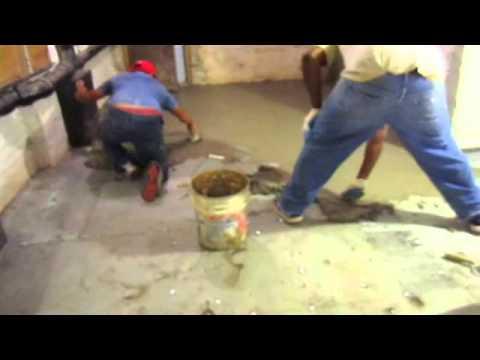 Basement Floor Concrete Resurfacing First Coat Of Cement