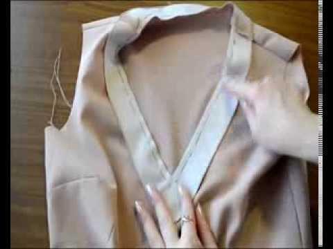 Обработать v-образный вырез на платье