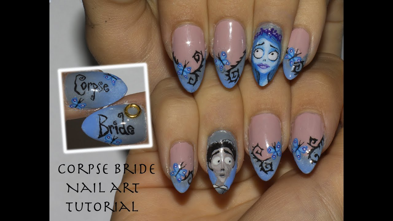 Tim Burton\'s Corpse Bride Halloween Nail Art tutorial + How to make ...