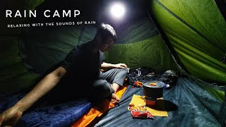 CAMPING IN THE RĄIN | Relaxing with the sounds of Rain | Solo Overnight | No Tarp | ASMR