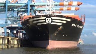MSC OLIVER - Nahe Vorbeifahrt in Bremerhaven, Größtes Containerschiff der Welt