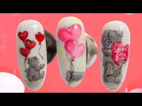Как нарисовать на ногтях мишку тедди