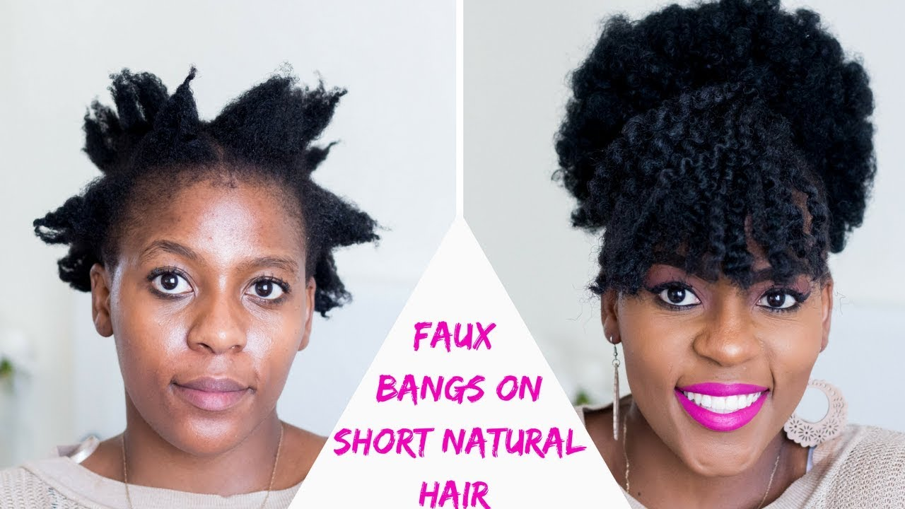 faux bangs and afro puff