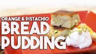 Bread Pudding Flavoured With Orange Peel And Pistachios