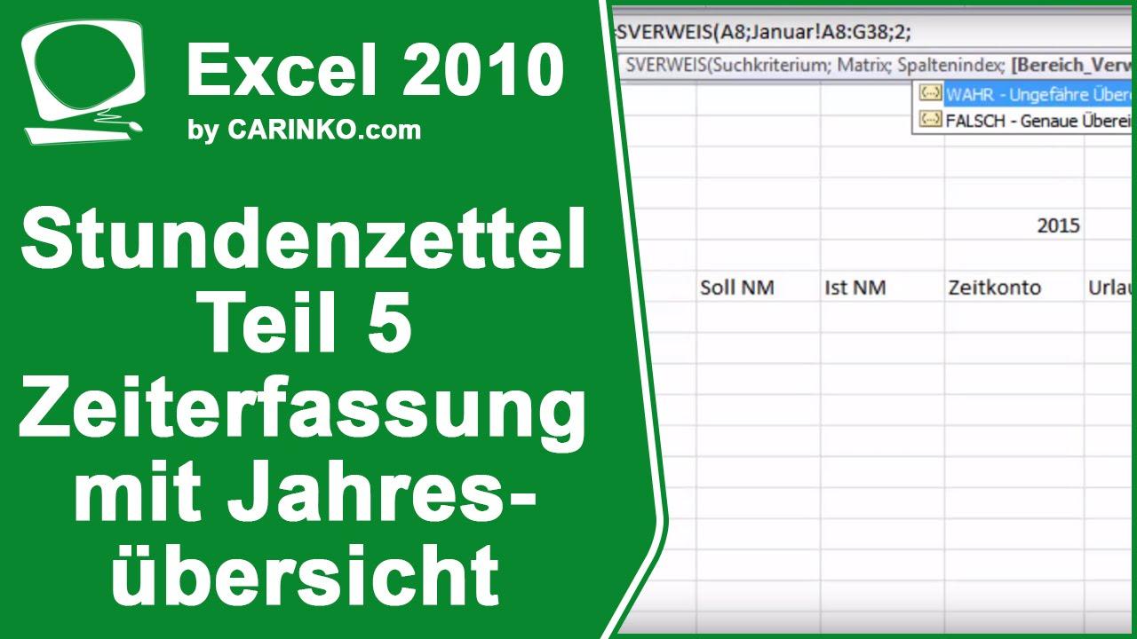 Stundenzettel Zeiterfassung Übersicht in Excel erstellen Teil 5 ...