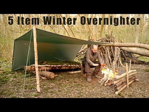 5 Item Winter Overnighter - Moss Raised Bed, Tarp Shelter