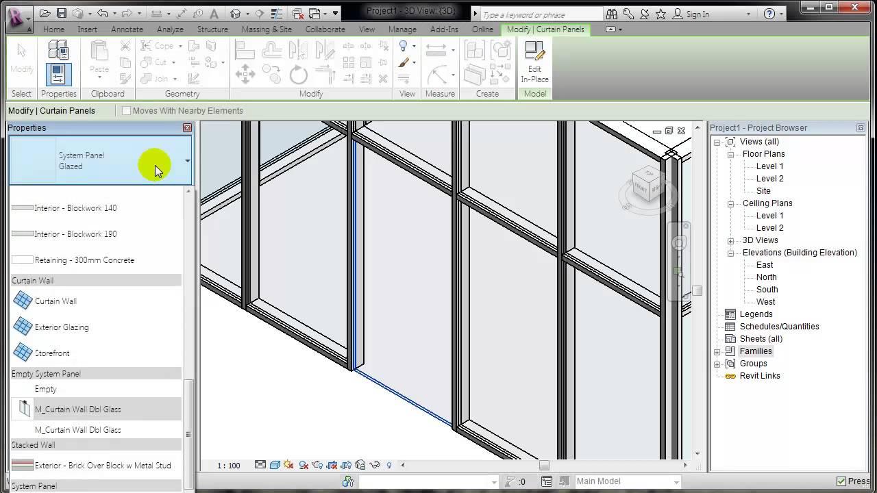 Revit como colocar una puerta en un curtain wall youtube - Como colocar puerta corredera ...