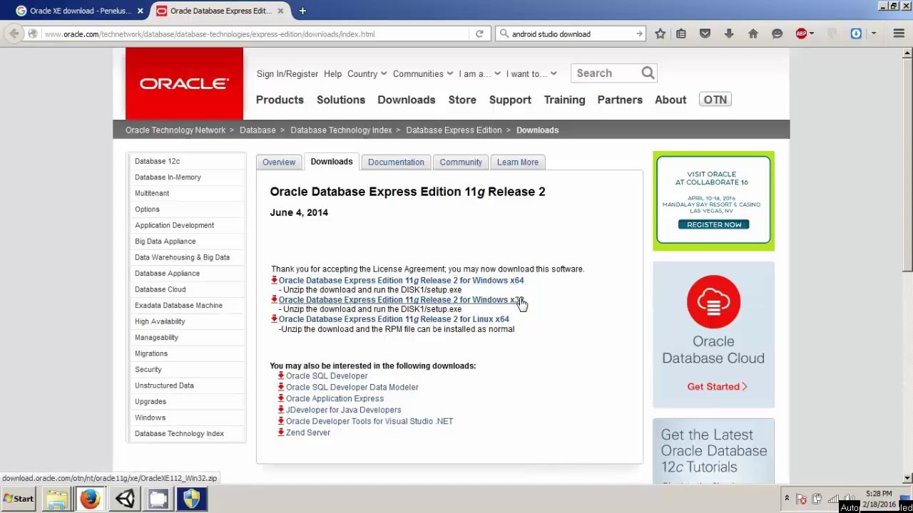 download oracle 11g express edition 32 bit