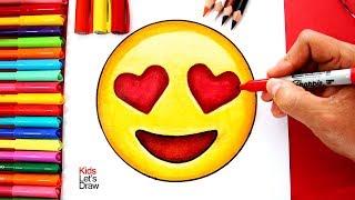 Cómo Dibujar Emoji Ojos de Corazón (Emoticono Enamorado)