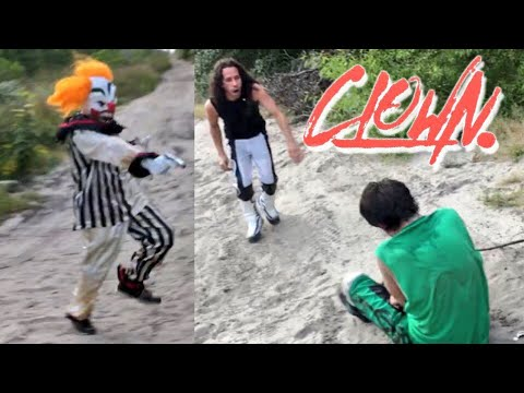 CLOWN STALKS CHAMPIONSHIP MATCH IN THE WOODS! GRIM DEFENDS YOUTUBE CHAMPIONSHIP!
