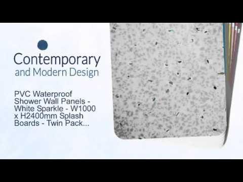 PVC Waterproof Shower Wall Panels - White Sparkle - 2x W1000 x ...