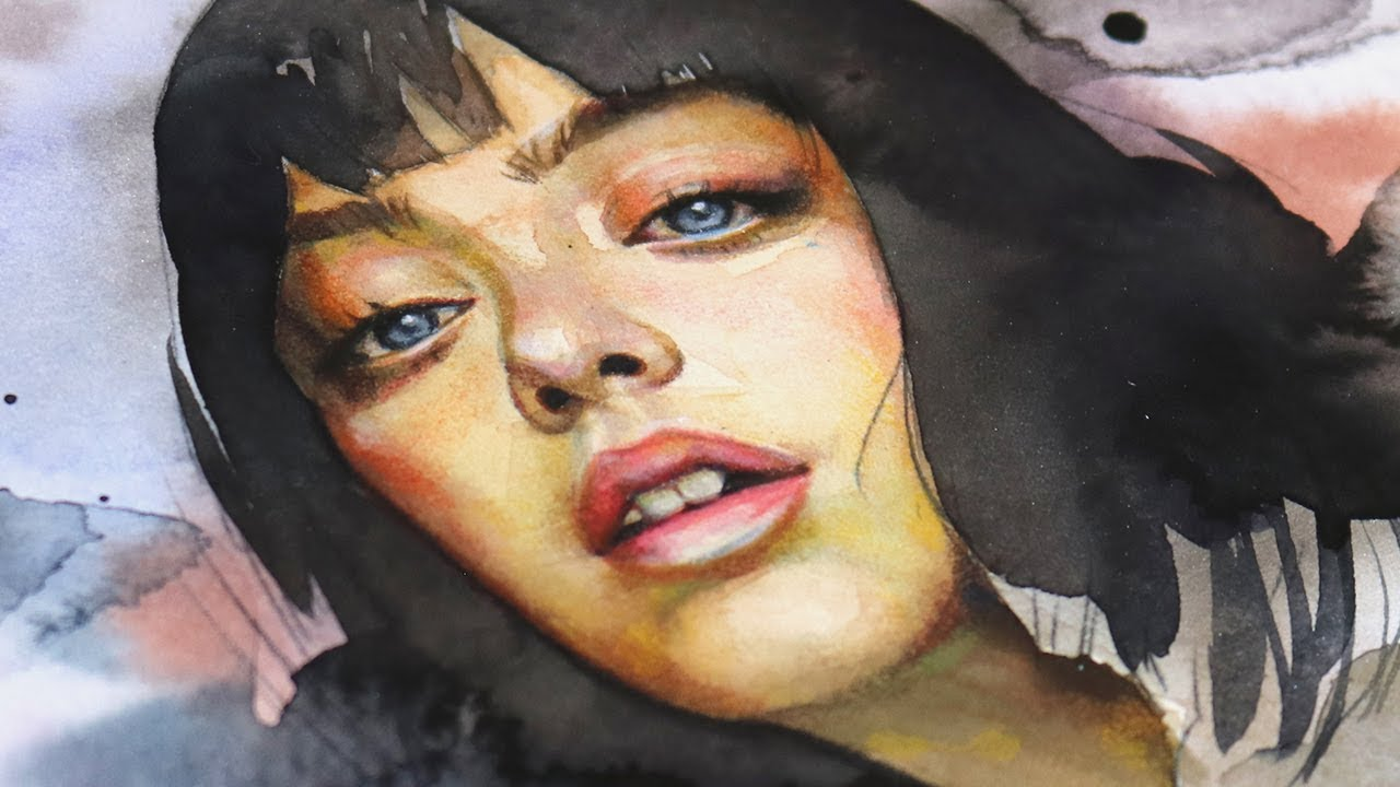 How to paint a realistic portrait with watercolors and color pencils