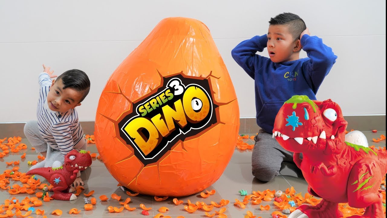 Giant Dino SMASHERS Surprise Egg Opening Fun With CKN Toys