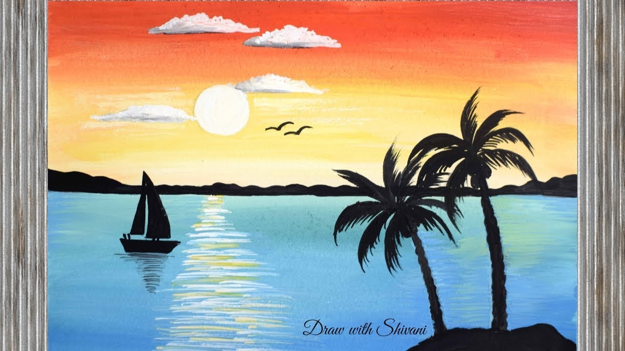 easy landscape painting using poster colors