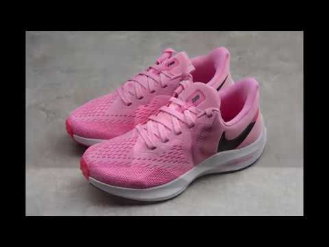 Pelmel Genuino donde quiera  Pink Nike Zoom Winflo 6 mesh breathable lightweight cushioning running  shoes - YouTube