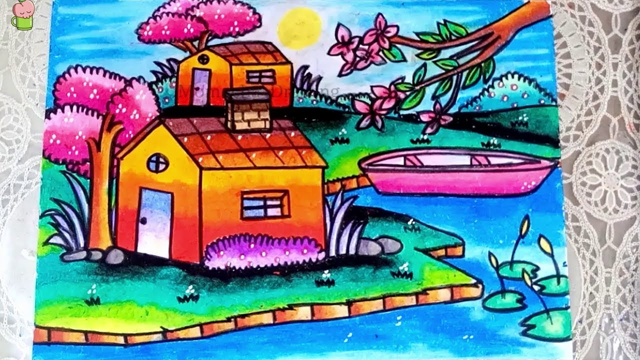 How To Draw And Coloring Spring Nature Scenery With Oil Pastel Step By Step For Kids