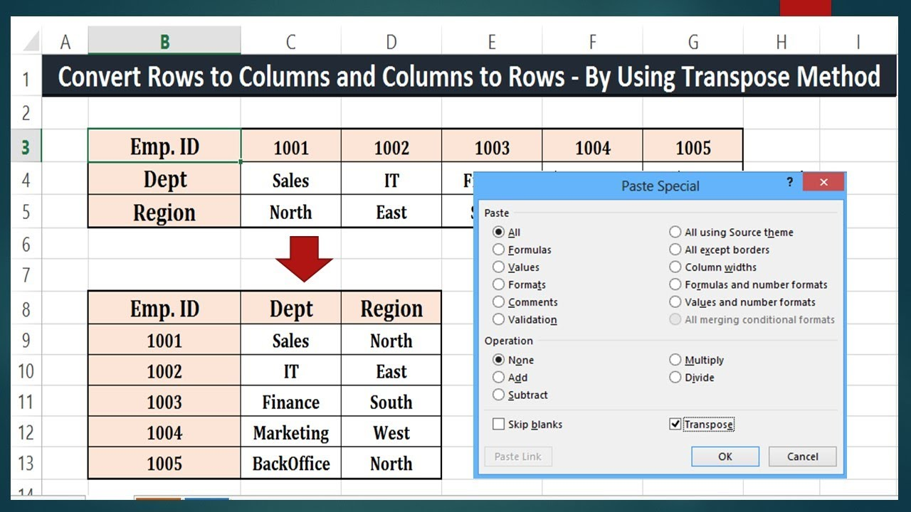 Copy from Row and Paste to Column in Excel 10 10