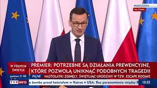 Konferencja Premiera Mateusza Morawieckiego w sprawie tragicznego pożaru w Koszalinie